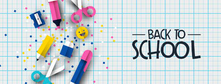 Back to school banner illustration of colorful 3d papercut children supplies on notebook background. Fun kids event design, paper cut icons include happy emoji, pencil, pen, scissors.