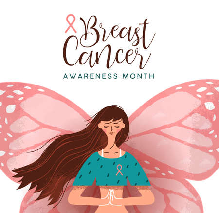 Breast cancer awareness month  of young woman with butterfly wings and pink ribbon.