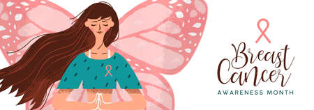 Breast cancer awareness month  of young woman with butterfly wings and pink ribbon