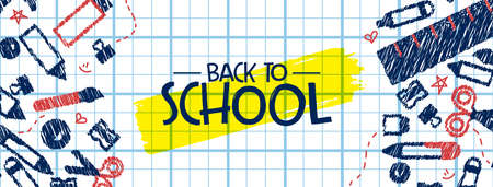 Back to school banner illustration of fun highschool doodles on childrens notebook paper background. Education event design for kids or teen students.