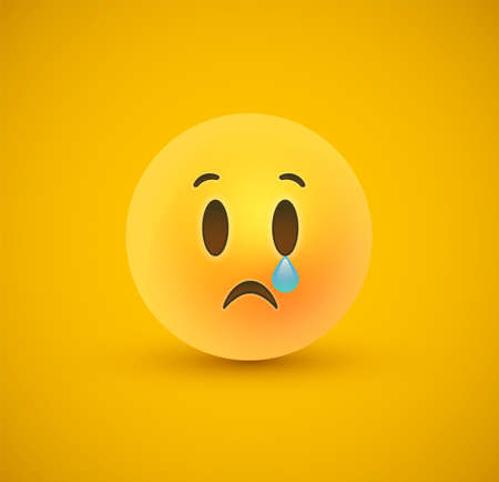 Sad 3d emoticon face on yellow color background. Modern sadness reaction for children or teen expression concept. Realistic chat symbol crying tears. 向量圖像