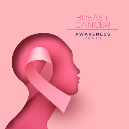 Breast Cancer awareness month  greeting card  of pink silk ribbon inside paper cutout woman head for health campaign concept.