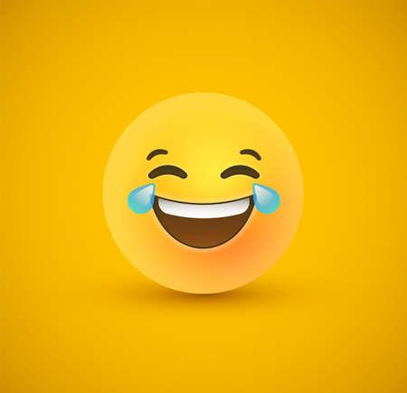 Weinen vor Lachen 3D lustiges Lachen Emoticon Gesicht auf gelbem Hintergrund. Moderne soziale Reaktion für lustige Kinder oder Teenager-Witz-Ausdruckskonzept. Realistisches Chat-Symbol mit Freudentränen.
