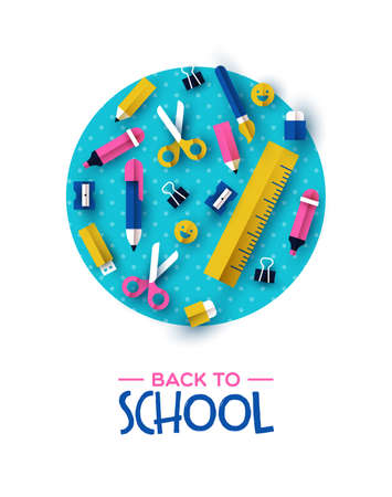 Back to school card  of colorful 3d papercut children supplies on color circle 스톡 콘텐츠 - 129346203
