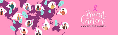 Breast Cancer awareness month banner of diverse people in world map with pink ribbon.