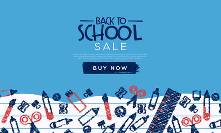 Back to school sale template banner of children class doodles for business promotion event.