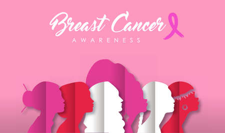 Breast Cancer awareness month papercut banner  of diverse ethnic women in pink color for worldwide female health care. Stock Illustratie