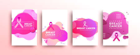 Breast Cancer Awareness greeting card set with pink ribbon on isolated white