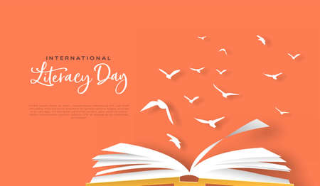 International Literacy Day greeting card template of open book with paper bird flock in modern papercut style