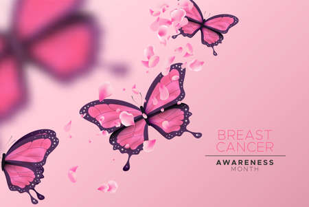 Breast Cancer awareness banner illustration of beautiful pink butterfly group and flower petals. Feminine design for women support or prevention campaign. Illustration