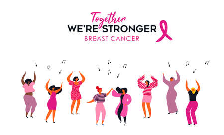 Breast Cancer awareness month  of diverse women group dancing together.