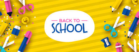Back to school banner illustration of colorful 3d papercut children supplies on bright color background. Fun kids event design, paper cut icons include happy emoji, pencil, pen, scissors.