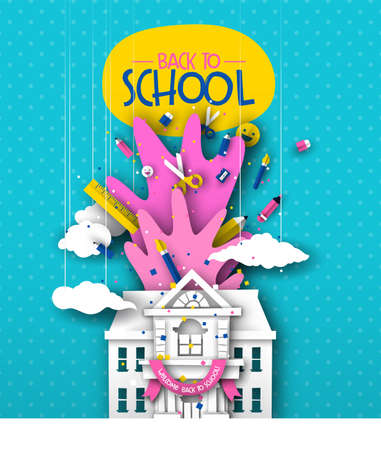 Back to school greeting card illustration of 3d papercut highschool or elementary building with paper cut children supplies. Colorful fun class event design for kids. 向量圖像