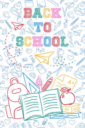 Back to school greeting card  of colorful hand drawn backpack and art supplies on class subject doodle  for education concept.