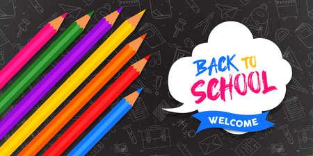 Back to school greeting card illustration of colorful color pencils with chalk doodles for education concept. Illustration