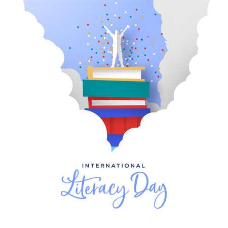 International literacy day card Standard-Bild - 129345694