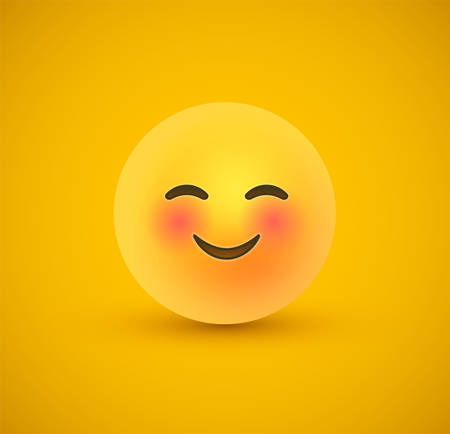 Shy smile 3d happy emoticon face on yellow color background. Modern social reaction for children or teen expression concept. Realistic chat symbol with pink blush cheeks.