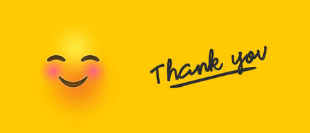 Cute blushing yellow emoticon banner illustration with thanks quote for thank you greeting card concept.