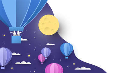 Papercut hot air balloon  on night sky with clouds, people and stars. Standard-Bild - 129345692