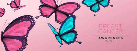 Bannière de sensibilisation au cancer du sein du beau groupe de papillons roses. Vecteurs