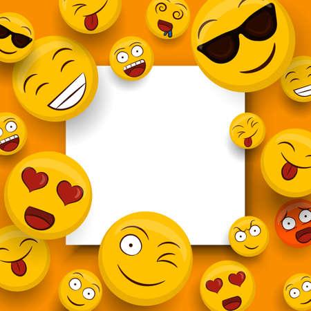 Iconos de emoticonos amarillos sociales en plantilla de espacio de copia en blanco aislado. Los divertidos dibujos animados de caritas sonrientes incluyen emociones felices, lindas y divertidas.