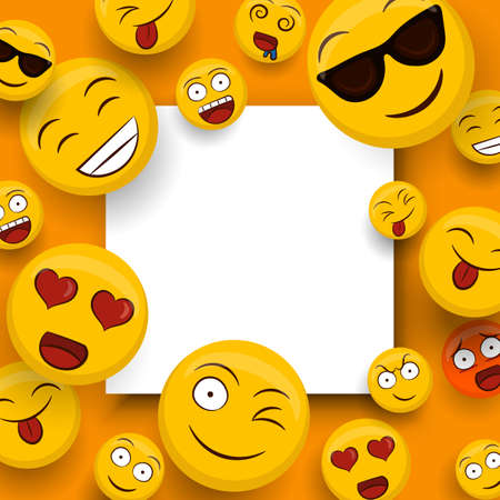 Social yellow emoticon icons on isolated white copy space template. Fun smiley face cartoons includes happy, cute and funny emotions.