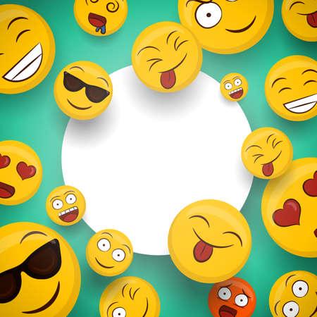 Iconos de emoticonos amarillos sociales en plantilla de espacio de copia en blanco aislado. Los divertidos dibujos animados de caritas sonrientes incluyen emociones felices, lindas y divertidas. Ilustración de vector