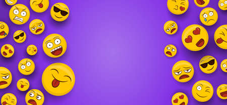 Social yellow emoticon icons on isolated copy space background. Fun smiley face cartoons includes happy, cute and funny emotions.