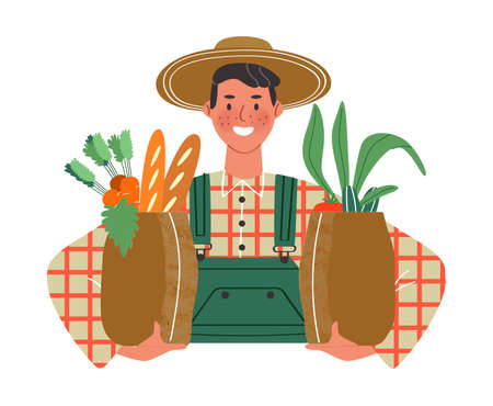 Happy farmer worker man holding grocery paper bags on isolated white background. Eco friendly concept for food delivery service or environment campaign. Illustration