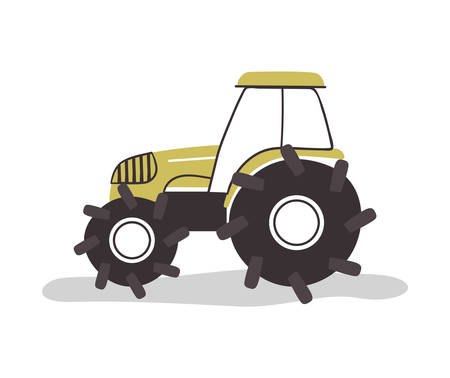 Farm tractor vehicle on isolated white