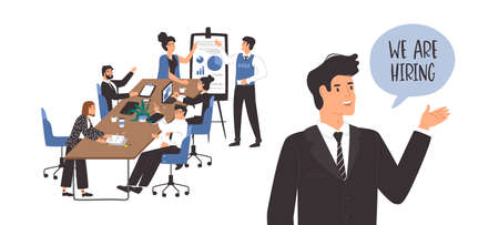 We are hiring template for vacant office position. Happy business boss with workplace scene of diverse businessmen and women. Corporate worker vacancy concept or employee recruitment design. Illustration
