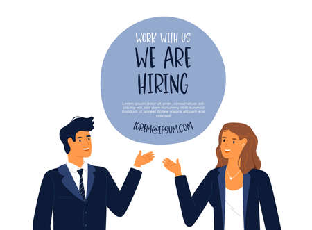 Happy business man and woman looking for vacant job position, we are hiring template illustration. Corporate worker vacancy concept or online employee recruitment design.