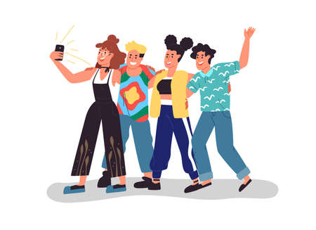 Happy young friend group taking selfie with mobile phone.