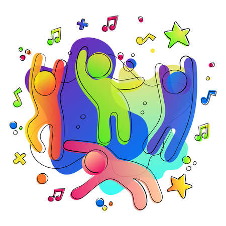 Friendship concept of happy friends in party together with colorful social media icons and music notes.