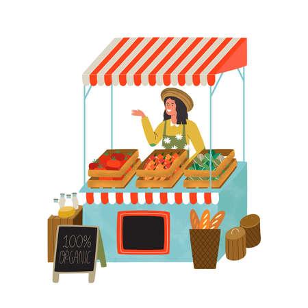 Bauernmarktstand mit glücklicher Bäuerin, die Bio-Gemüse und Lebensmittel verkauft. Moderne flache Karikaturillustration auf lokalisiertem Hintergrund.