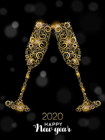 Happy New Year 2020 greeting card illustration. Luxury gold glass drinks making celebration toast on black background for elegant holiday event.