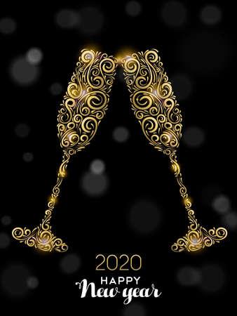 Illustrazione della cartolina d'auguri di felice anno nuovo 2020. Bevande di lusso in vetro d'oro che fanno brindisi celebrativi su sfondo nero per un elegante evento festivo.