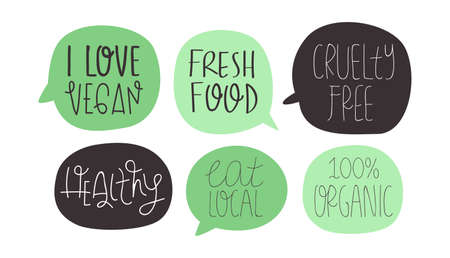 Vegan and vegetarian food quote set on isolated white Ilustração