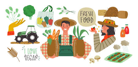 Farmer production set of agriculture worker people, vegetables and farm elements in modern flat cartoon style. Local farmers market collection concept with text quotes.