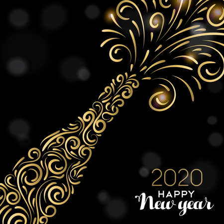 ハッピーニューイヤー2020グリーティングカードのイラスト。エレガントな休日のお祝いのための黒い背景に豪華な金のシャンパンボトル。