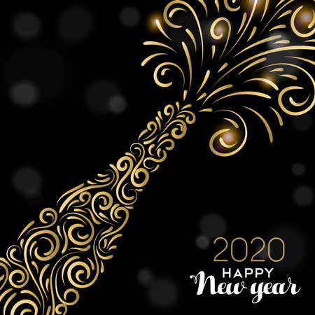 Ilustración de tarjeta de felicitación de feliz año nuevo 2020. Botella de champán de oro de lujo sobre fondo negro para una elegante celebración navideña.