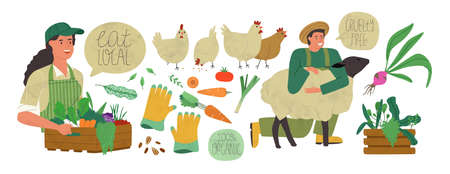 Farmer production set of agriculture worker people, vegetables and farm animals in modern flat cartoon style. Local farmers market collection concept.