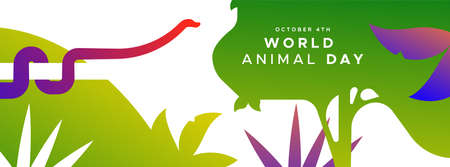 World animal day web banner illustration of exotic jungle snake in modern flat vibrant gradient style. Endangered species protection or wildlife conservation concept.