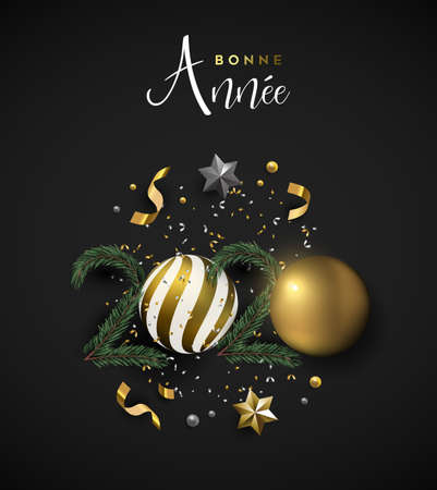 Happy New Year 2020 french language greeting card of 3d holiday decoration. Realistic luxury xmas ornament layout includes gold bauble, stars and pine tree on black background. Ilustracja