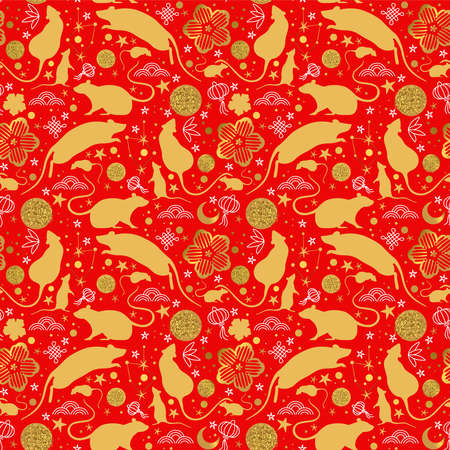 Chinese New Year of the rat seamless pattern with gold mouse animals, golden asian culture icons and hand drawn doodles. Traditional red lunar holiday background.