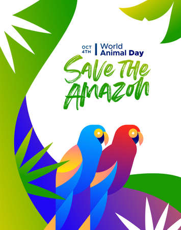 Save the Amazon illustration for world animal day, rainforest deforestation awareness concept. Colorful brazilian macaw birds in modern vibrant flat gradient style.