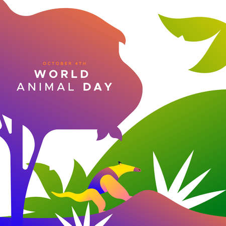 World animal day illustration of colorful anteater in modern flat vibrant gradient style. Endangered species protection or wildlife conservation concept. 일러스트