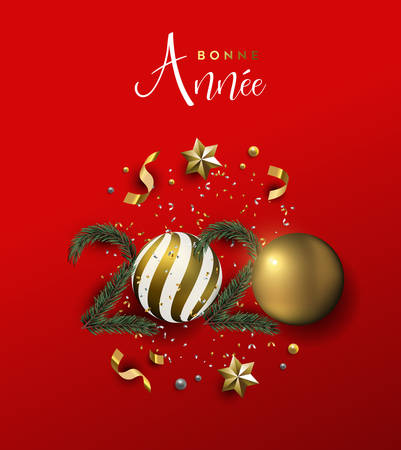 Happy New Year french language greeting card of gold 3d holiday decoration in 2020 number shape. Xmas ornament baubles, pine tree and golden stars on festive red background.