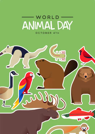 World Animal Day illustration of cute wild animals stickers in modern flat cartoon style. Diverse wildlife fauna includes brown bear, jungle monkey, moose, and macaw bird. 向量圖像