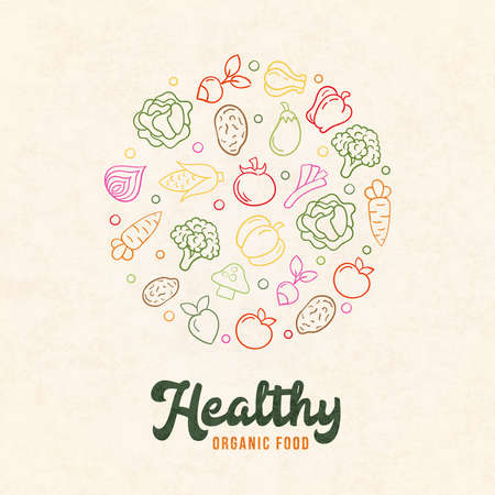 Organic food illustration of colorful hand drawn vegetable icons in outline style. Fresh product concept for healthy diet or cooking ingredients.